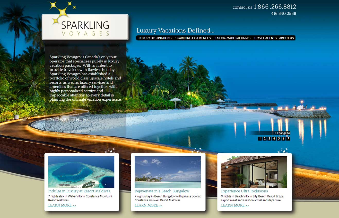 Travel Website for Sparkling Voyages