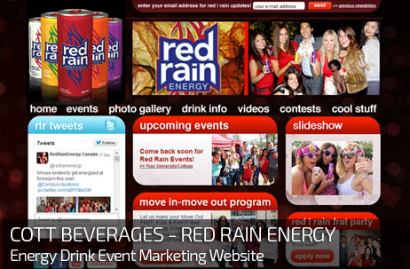 Web Design for COTT BEVERAGES - RED RAIN